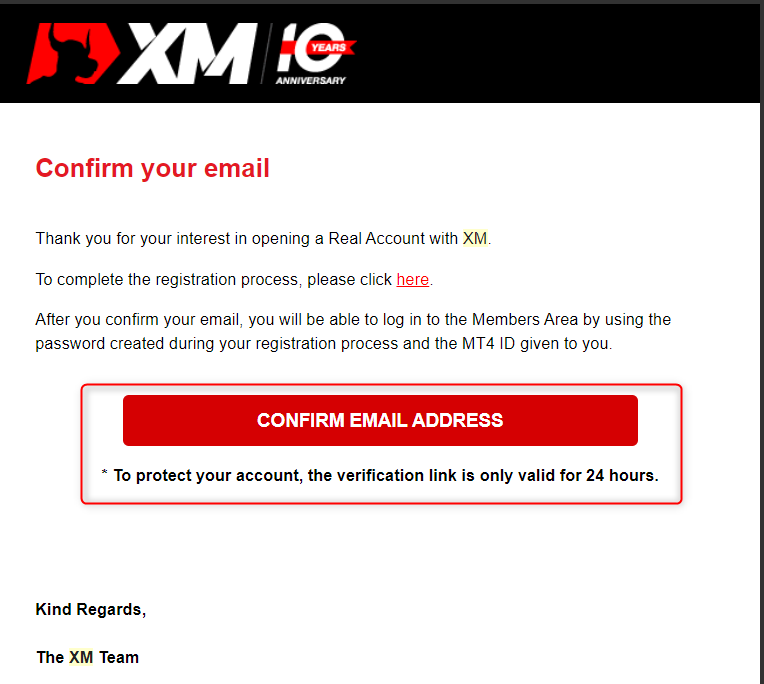 xm confirmation mail