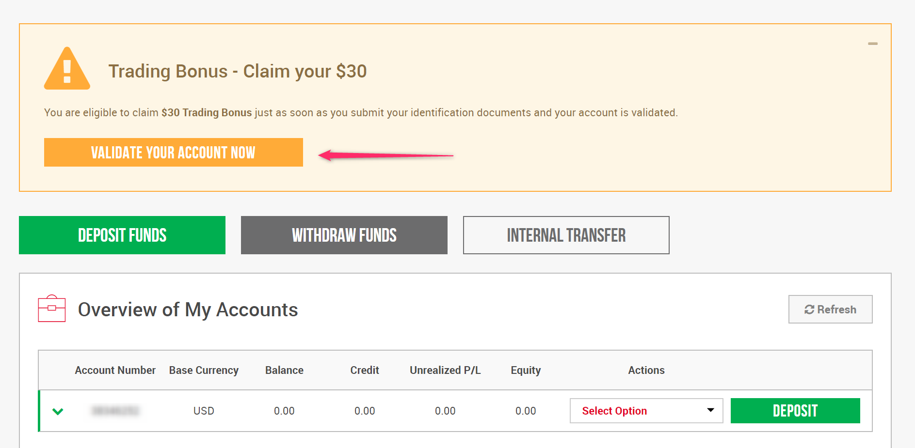 VALIDATE YOUR ACCOUNT XM